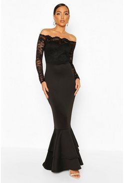 Lace Bardot Frill Fishtail Maxi Dress, Black