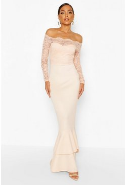 Nude Lace Off The Shoulder Frill Fishtail Maxi Dress