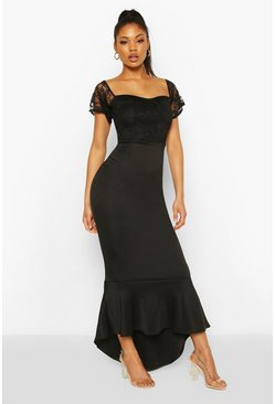 Black Lace Bardot Fishtail Maxi Dress