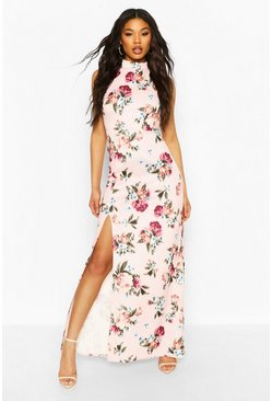 Pink High Neck Strappy Back Maxi Dress