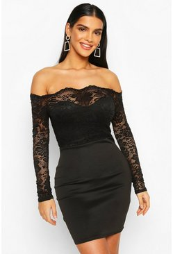 Black Lace Bardot Top Mini Dress