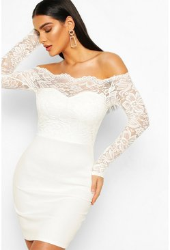 White Lace Bardot Top Mini Dress