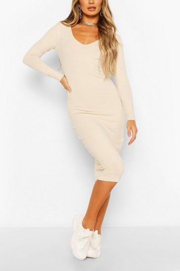 Stone Long Sleeve V Neck Bodycon Dress