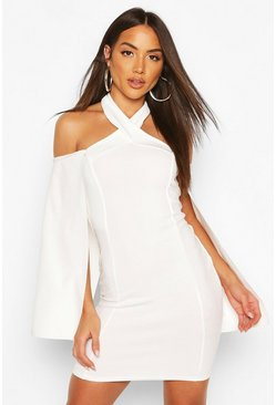 Halterneck Cape Mini Bodycon Dress, White