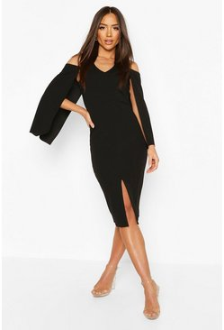 Black Cape Midi Dress