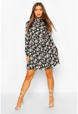 Ruffle Neck Floral Belted Skater Dress, Black