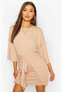 Oatmeal Drop Shoulder Tie Detail Jersey Dress