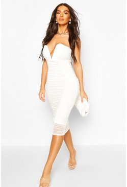 White Bandeau V Bar Mesh Midi Bodycon Dress
