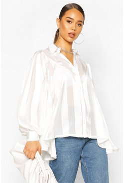 Ivory Satin Stripe Oversized Blouse