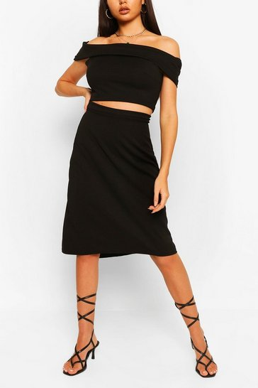 Black Over Layer Bardot Top & Skirt Co-ord Set
