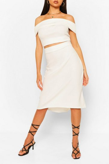Ivory Over Layer Bardot Top & Skirt Co-ord Set