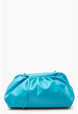 Blue Slouchy Oversized PU Cluch & Strap Bag