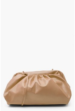 Camel Slouchy Oversized PU Clutch & Strap Bag