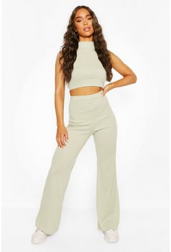 Sage Ribbed High Neck Crop Top & Flare Trouser Co-ord