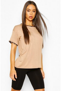 Camel Leopard Print Ringer Tee & Cycling Short Co-ord Set
