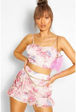 Pink Floral Woven Rouched Crop
