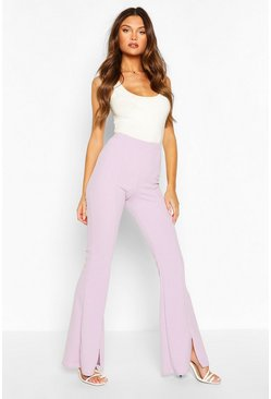 Lilac Spit Front Flare Trouser
