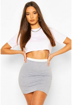 Grey Contrast Waistband Mini Skirt