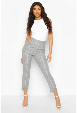 Black Split Front Dogtooth Check Slim Leg Trousers