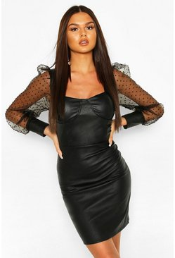 Black Dobby Mesh Faux Leather Mini Dress