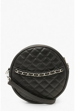 Black Quilted Round Cross Body Bag & Chain