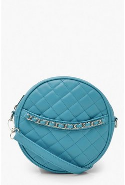 Blue Quilted Round Cross Body Bag & Chain