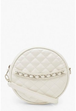 White Quilted Round Cross Body Bag & Chain