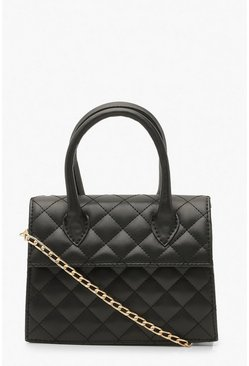 Black Quilted Structured Cross Body Bag
