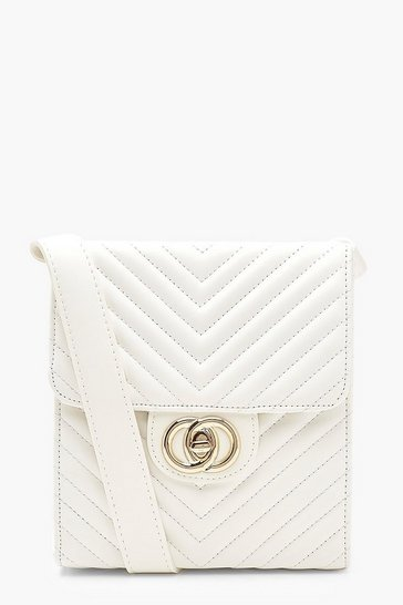 White Chevron Quilted Twist Lock Cross Body Bag