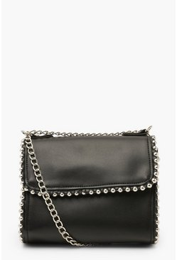 Black Bead Detail & Tassel Cross Body Bag