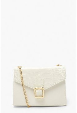 White Croc Buckle Detail Cross Body Bag