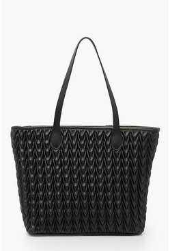 Black Quilted PU Tote Bag