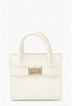 White Smooth PU Lock Detail Bag & Chain
