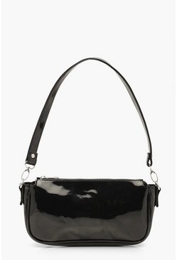 Black Patent Shoulder Bag