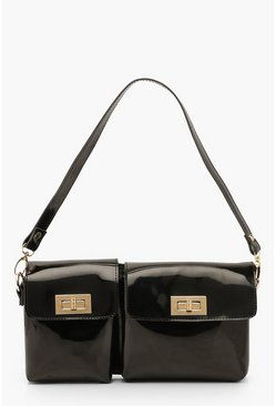 Black Patent Twist Lock Double Pocket Shoulder Bag