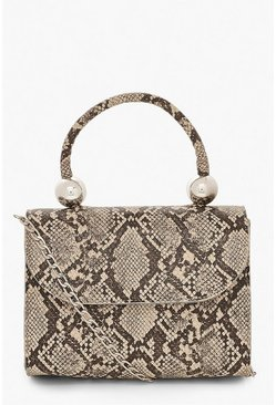 Natural Snake PU Structured Handle Bag & Chain