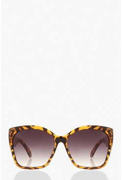 Yellow Oversized Tortoise Shell Sunglasses