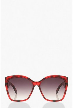 Red Oversized Tortoise Shell Sunglasses