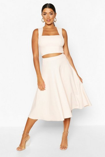 Blush Square Neck Crop Top & Midi Skater Co-ord Set
