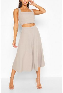 Square Neck Crop Top & Midi Skater Co-ord Set, Silver grey