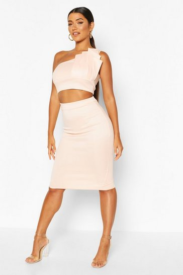 Blush Asymmetric Pleat Top And Midi Skirt Co-ord