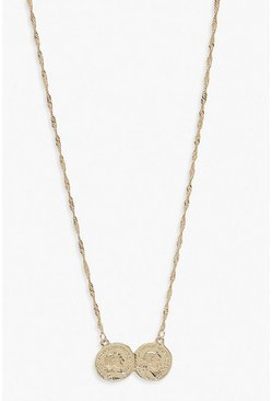 Double Coin Necklace, Gold