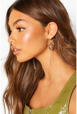 Gold Double Hoop And Chain Detail Earrings