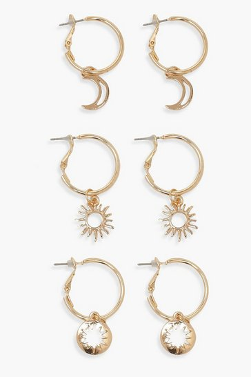Gold Star Moon & Sun 3 Pack Hoop Earrings