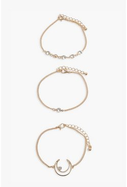 Gold 3 Pack Moon & Diamante Bracelets