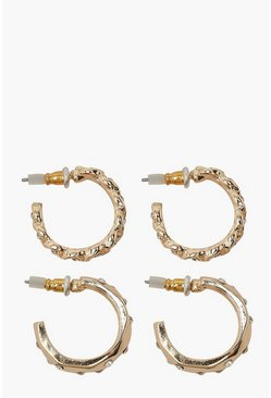 Gold Diamante and Textured 2 Pack Hoop Earrings