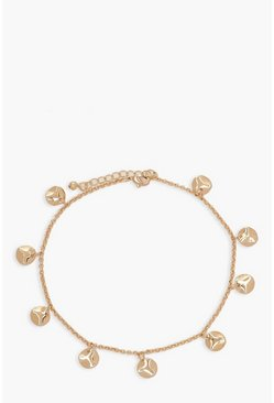 Hammered Circle Charm Anklet, Gold