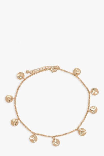 Gold Hammered Circle Charm Anklet