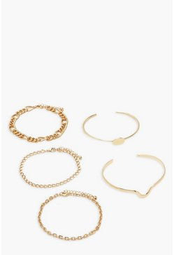 Gold 5 Pack Chain Bracelet & Bangel