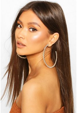 Plaited Fabric Oversized Hoops, Multi